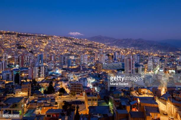 La Paz - Cityscape with Illimani Volcano in Background