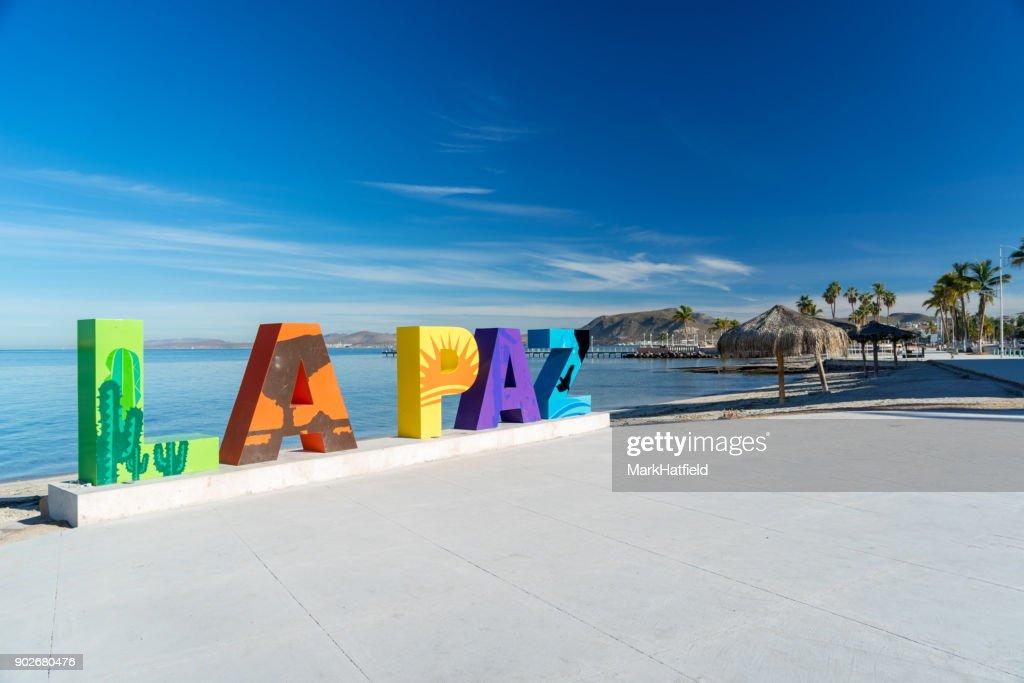 La Paz Lettering along Boardwalk : Stock Photo