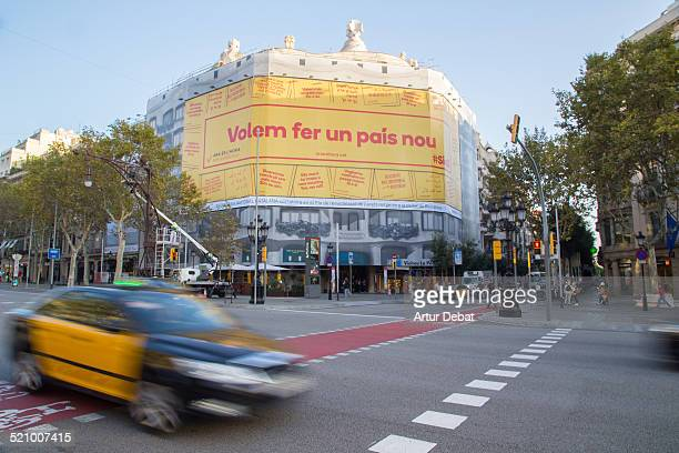La Pedrera of Gaudí in Barcelona city covered for rehabilitation with the yellow campaign of the Assemblea Nacional Catalana a civil society that...