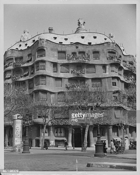 La Pedrera one of the many buildings designed by Antoni Gaudi with his typical undulating architecture Barcelona Spain circa 1950