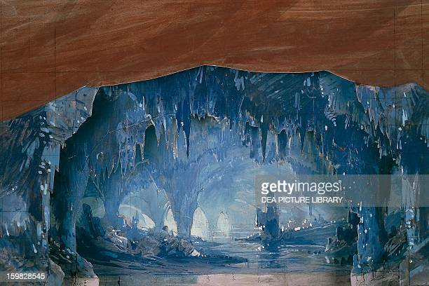 La Peregrina mother of pearl cave Act III scene II the Don Carlos by Giuseppe Verdi set design by Charles Cambon for the premiere of Paris Opera...