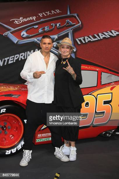 La Pina and Emiliano Pepe attend Cars 3 photocall in Milan on September 11 2017 in Milan Italy