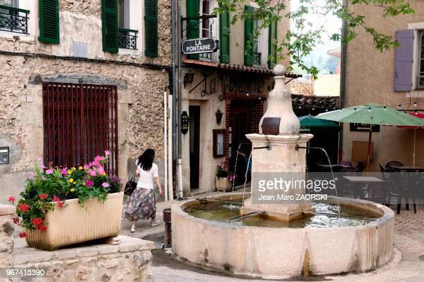 La place principale place Arsene Burle avec sa grande fontaine de 1845 a Saint Martin De Bromes village des Alpes de Haute Provence en France