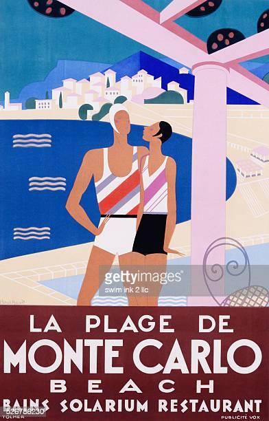 La Plage de Monte Carlo Poster by Michel Bouchaud