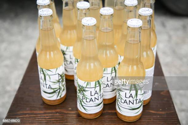 La Planta natural hemp drink is sold during demonstration to demand the legalization of marijuana in Krakow Poland on 20 May 2017
