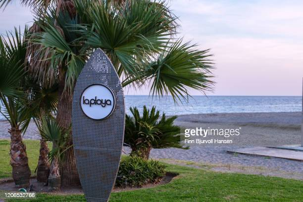 la playa, sign at the beach of los alamos - finn bjurvoll stock pictures, royalty-free photos & images
