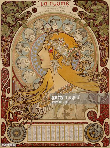 La Plume Poster by Alphonse Marie Mucha