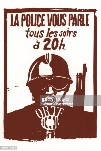 La Police vous parle tous les soirs à 20 h' manifesto by popular atelier of students in struggle during the unrest of May 1968. Lithograph, France...