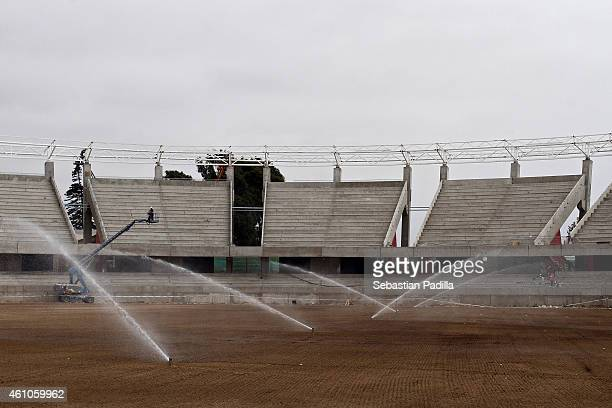 La Portada Stadium of La Serena under restoration ahead of the Copa America Chile 2015 on December 11 2014 in La Serena Chile The stadium will host...