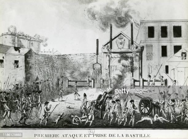 La première attaque des émeutiers lors de la prise de la Bastille le 14 juillet 1789 à Paris France