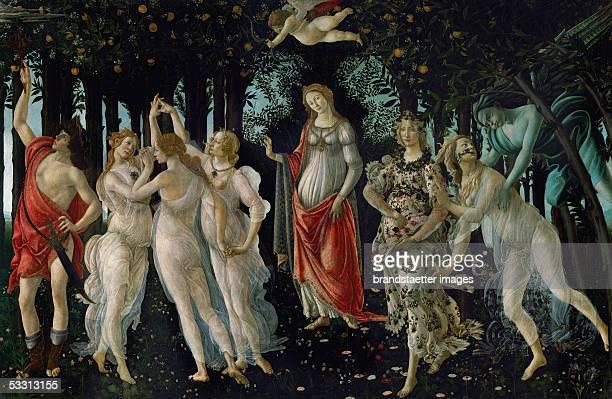 La Primavera Tempera on wood 1477 203 x 314 cm Inv 8360 [La Primavera TemperaMalerei 1477]