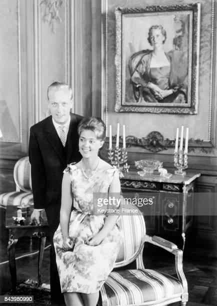 La princesse Birgitta de Suède et son fiancé le prince Johann Georg de Hohenzollern au palais royal à Stockholm Suède le 17 mai 1961