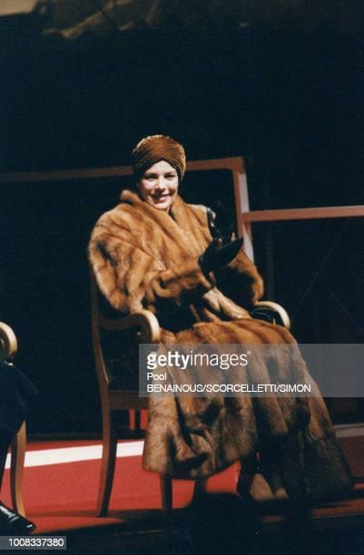 La princesse Caroline de Monaco assiste aux cérémonies de commémoration le 8 janvier 1997 Monaco