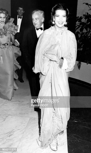 La princesse Caroline de Monaco et son père le prince Rainier III de Monaco lors du bal de la Rose de Monaco en 1981