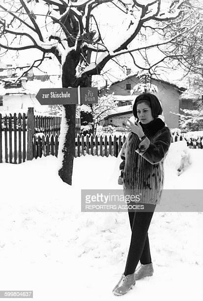 La Princesse Ira de Furstenberg à la station de ski de Piz Buin circa 1960 en Autriche