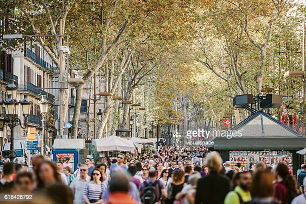 la rambla in barcelona - barcelona spain stock pictures, royalty-free photos & images