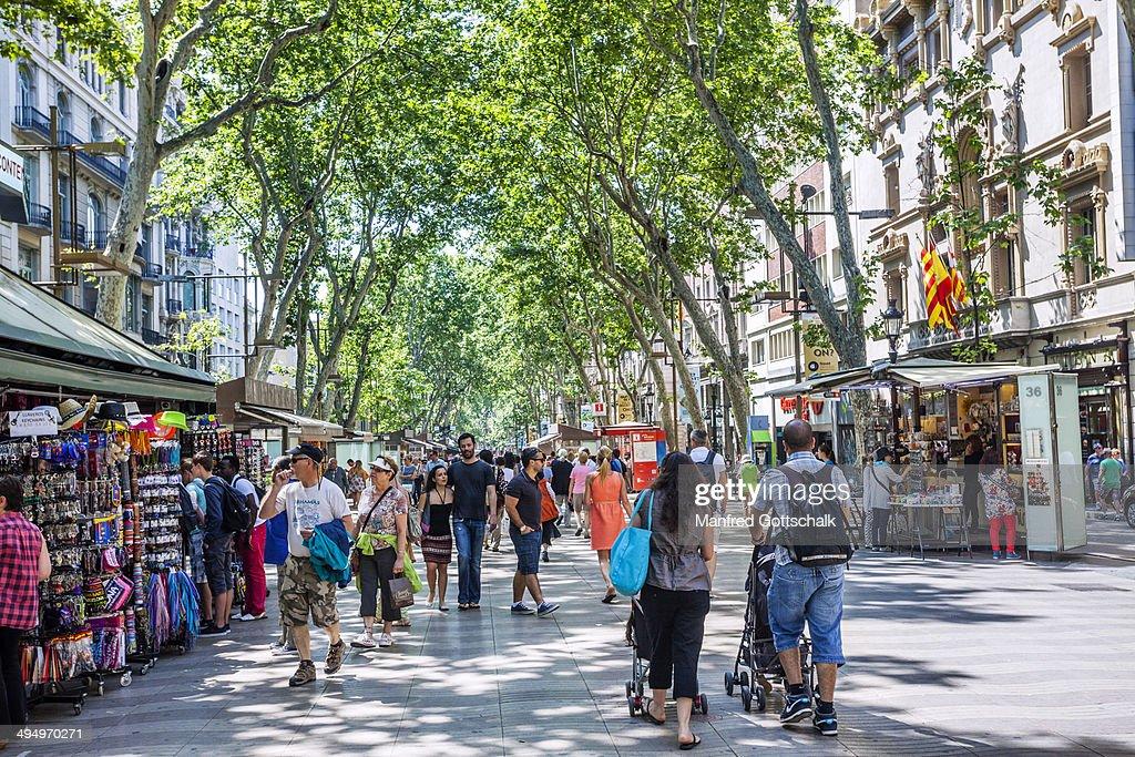 La Rambla pedestrian mall Barcelona : Stock Photo