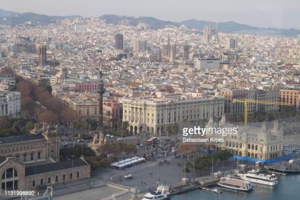 La Rambla Street, Sagrada Familia Basilica, Urban Skyline, Barcelona, Spain