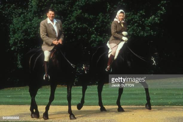 La reine Elisabeth II et le président américain Ronald Reagan faisant du cheval à Windsor le 8 mai 1982 RoyaumeUni
