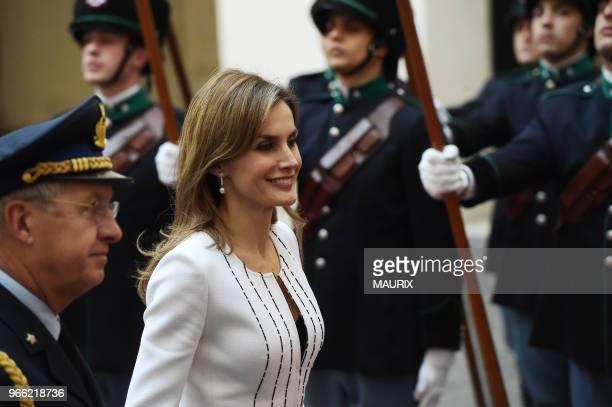 La reine Letizia d'Espagne le 19 novembre 2014 lors de sa visite officielle à Rome Italie