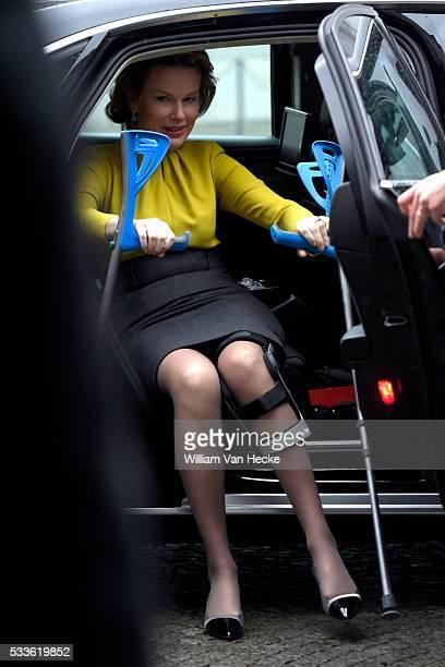 La Reine Mathilde assiste à la Conférence de l'Union Européenne sur le virus Ebola au Palais d'Egmont à Bruxelles Koningin Mathilde woont de EU...
