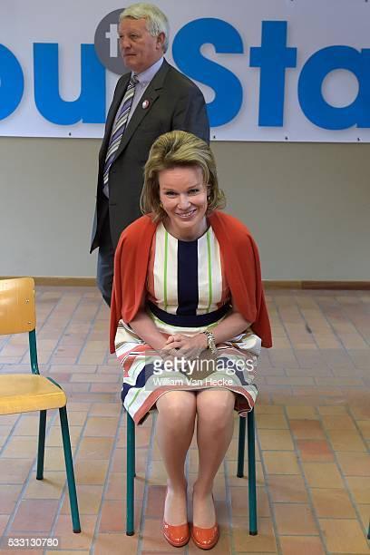 La Reine Mathilde assiste à la présentation des plans de création d'entreprise de jeunes qui ont suivi la formation 'Manager Training and...
