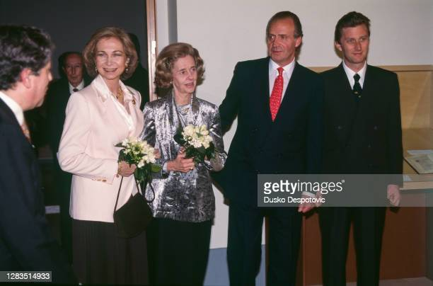 La Reine Sophie, la Reine Fabiola de Belgique, le Roi Juan Carlos et le Prince Philippe de Belgique.