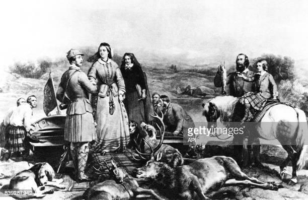 La reine Victoria du RoyaumeUni et son mari le prince consort Albert de SaxeCobourgGotha pendant une partie de chasse en Ecosse d'après une peinture...