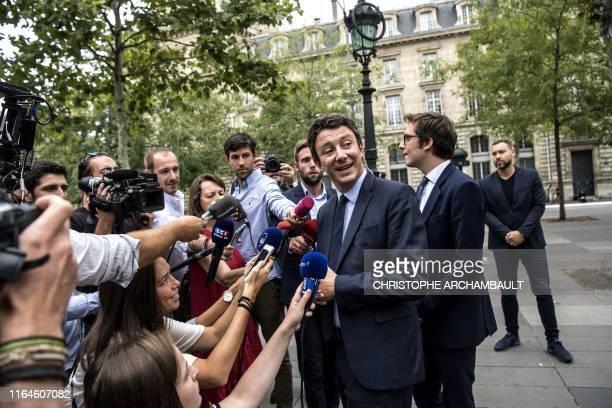 La Republique en Marche candidate for the Paris 2020 mayoral election Benjamin Griveaux addresses reporters as part of his electoral campaign in...