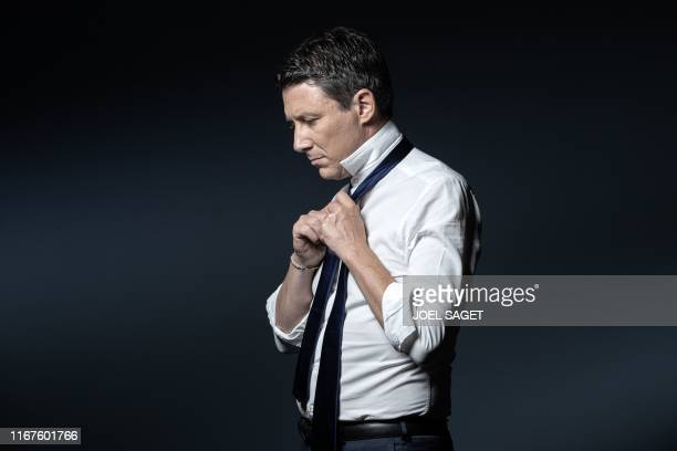 TOPSHOT La Republique en Marche candidate for the Paris 2020 mayoral election Benjamin Griveaux poses during a photo session in Paris on September 11...