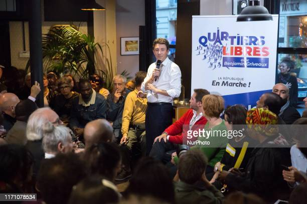 La Republique en Marche candidate for the Paris 2020 mayoral election Benjamin Griveaux is talking to parisians in a meeting called « Quartiers...