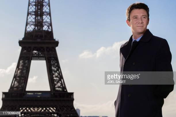 La Republique en Marche candidate for the Paris 2020 mayoral election Benjamin Griveaux poses for a photo in front of the Eiffel tower in Paris on...