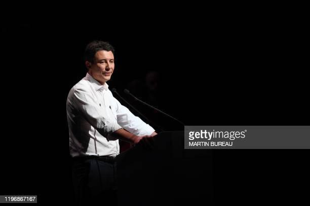 La Republique en Marche candidate for the Paris 2020 mayoral election Benjamin Griveaux addresses at the Bobino theater for the Benjamin Griveaux...