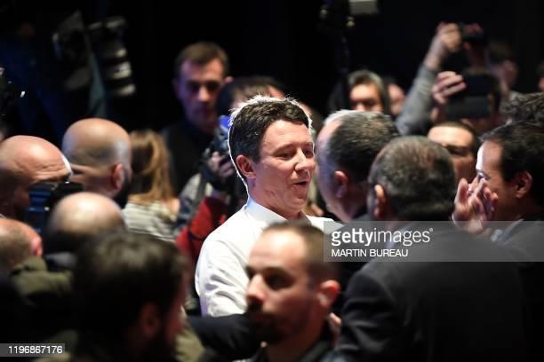 La Republique en Marche candidate for the Paris 2020 mayoral election Benjamin Griveaux arrives at the Bobino theater for the Benjamin Griveaux...