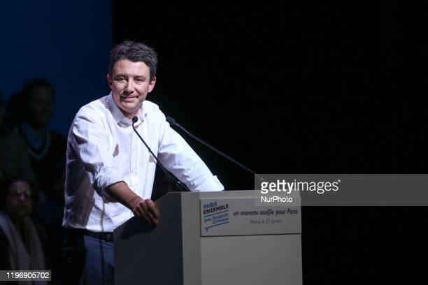 La Republique en Marche candidate for the Paris 2020 mayoral election Benjamin Griveaux addresses at the Bobino theater in Paris on January 27 2020...