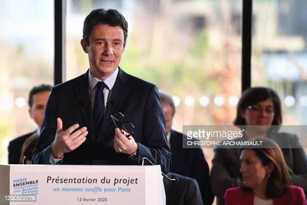 La Republique en Marche candidate for the upcoming Paris 2020 mayoral election Benjamin Griveaux presents his programme in Paris on February 13 2020