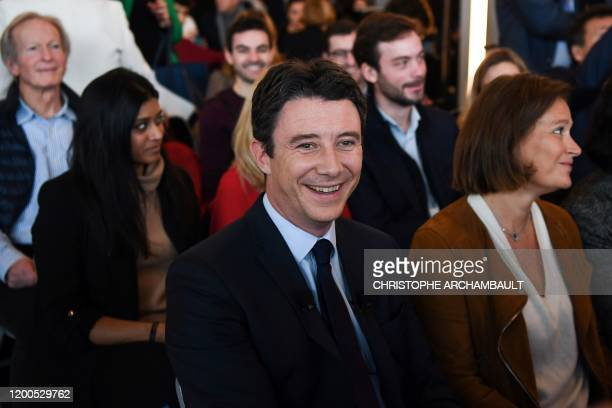 La Republique en Marche candidate for the upcoming Paris 2020 mayoral election Benjamin Griveaux waits to present his programme during a meeting in...