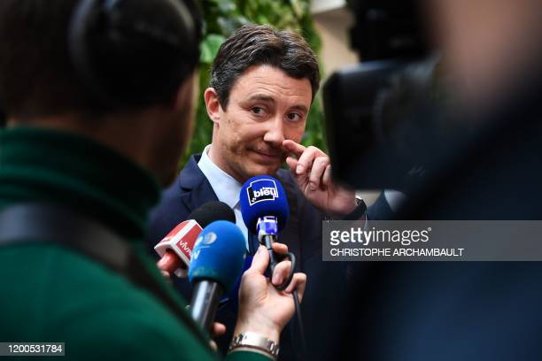 La Republique en Marche candidate for the upcoming Paris 2020 mayoral election Benjamin Griveaux speaks to journalists after presenting his programme...