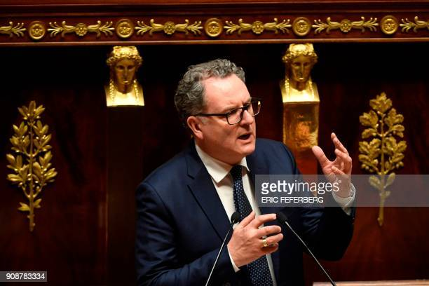 La Republique en Marche member of Parliament Richard Ferrand speaks during a special session of the France's National Assembly marking the 55th...