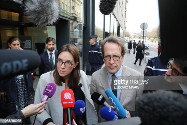 La Republique en Marche MP Amelie de Montchalin and President of the LREM parliamentary group Gilles Le Gendre speak to medias as they leave after...