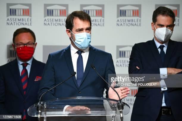 'La Republique en Marche' parliamentary group president Christophe Castaner , flanked by 'Mouvement Democrate et Democrates apparentes' parliamentary...
