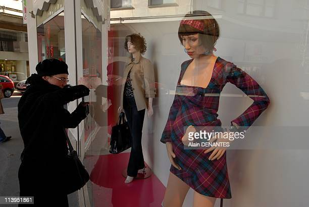 """""""La revolte des mannequins"""", new show of the theater group Royal de Luxe street in store windows In Nantes, France In February, 2008-Scene on the..."""