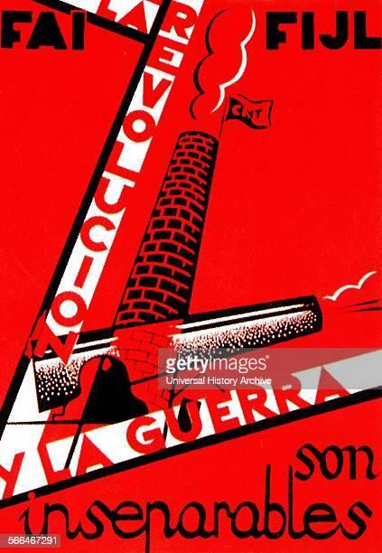 La Revolución y la Guerra son inseparables Poster edited by the anarchist CNTFAI during the Spanish Civil war