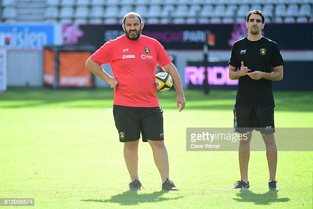 La Rochelle coach Patrice Collazo and La Rochelle performance analyst Florent Agounine during the Top 14 match between Stade Francais and Stade...