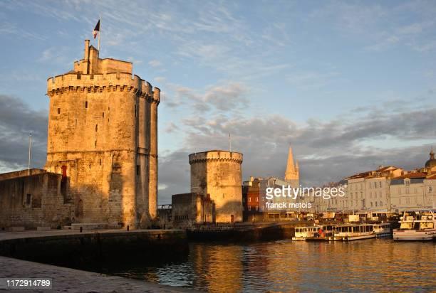 la rochelle towers ( france) - la rochelle stock pictures, royalty-free photos & images