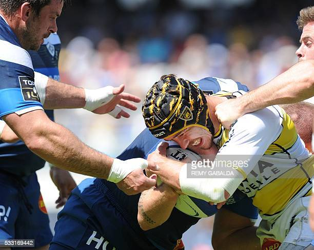 La Rochelle winger Gabriel Lacroix vies during the French Top 14 rugby union match Castres Olympique vs La Rochelle on May 21 2016 at the Pierre...