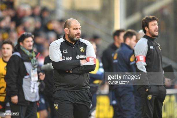 La Rochelle's French head coach Patrice Collazo and La Rochelle's French backs coach Xavier Garbajosa look on during the French Top 14 rugby union...