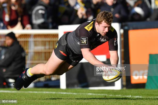 La Rochelle's French hooker Pierre Bourgarit scores a try during the French Top 14 rugby union match between La Rochelle and Toulon on February 25 at...