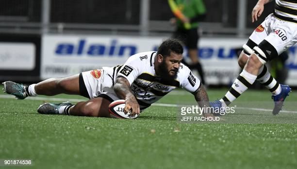 La Rochelle's French prop Vincent Pelo scores a try during the French Top 14 rugby union match between Oyonnax and La Rochelle at The CharlesMathon...