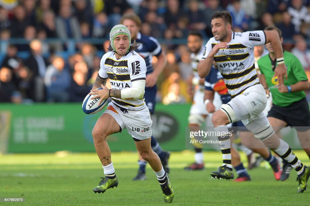 La Rochelle S French Wing Gabriel Lacroix L Runs With The Ball During Top 14 Rugby Union Match Between Agen And On September 16